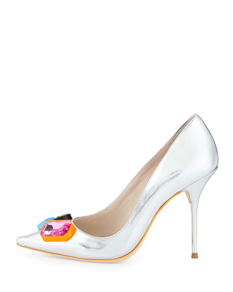Lola Metallic Crystal-Toe Pump, Silver