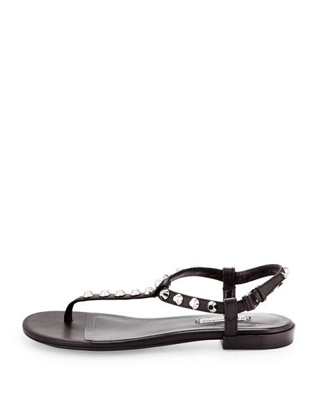Giant Nickel Studded Thong Sandal, Noir