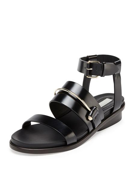 Metal-Bar Leather Sandal, Noir