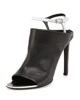 Balenciaga Ankle-Strap Glove Sandal, Noir/Blanc