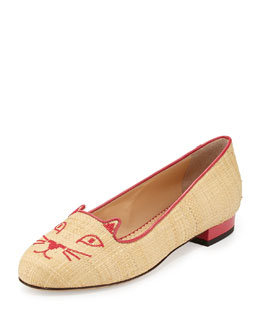 Kitty Raffia & Patent Leather Slipper, Natural/Fiesta