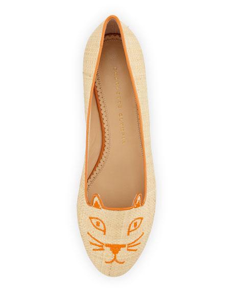 Kitty Raffia & Patent Leather Slipper, Natural/Orange