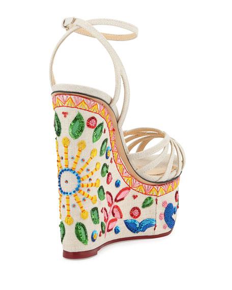 Celebration Meredith Embroidered-Wedge Sandal