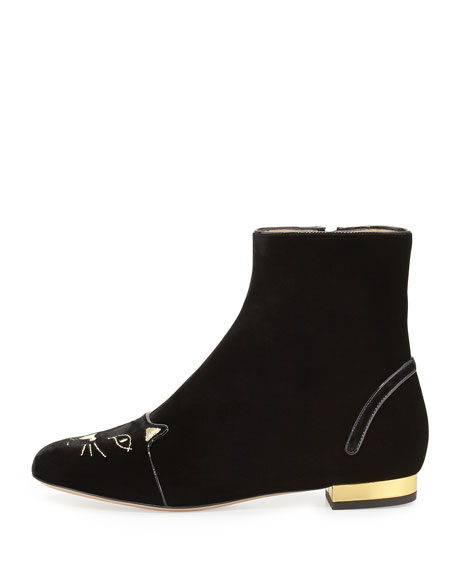 Velvet Puss in Boots Short Boot, Black