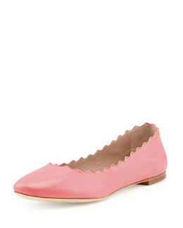 Chloe Scalloped Leather Ballerina Flat, Lipstick