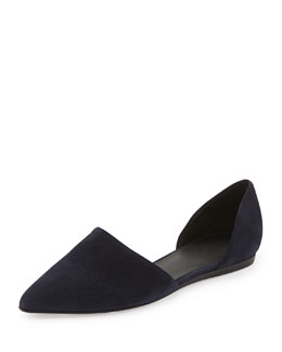 Vince Nina Two-Piece Suede Flat, Ink Navy