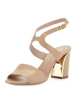 Chloe Leather Curve-Heel Sandal, Beige Rose