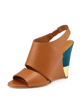 Chloe Leather Slingback Wedge, Brown/Turquoise