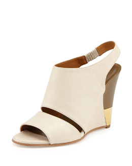 Chloe Leather Slingback Wedge, Ivory/Military