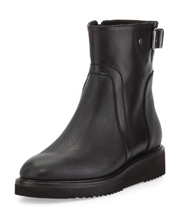 Vince Reid Leather Short Boot, Black