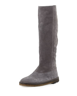 Vince Sadler Shearling-Lined Knee Boot, Graphite