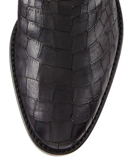 Equine Croc-Embossed Knee Boot, Nero