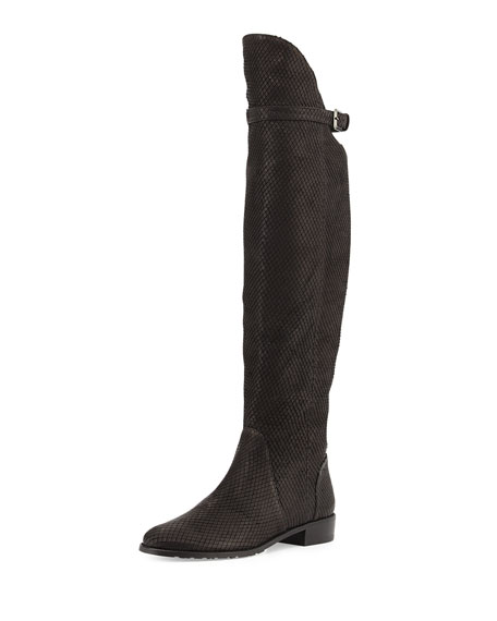 Needaride Snake-Print Over-the-Knee Boot, Black