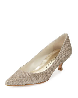 Stuart Weitzman Poco Glitter Kitten Heel Pump, Platinum