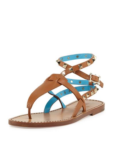 Rockstud Ankle-Wrap Thong Sandal, Cuir/Parrot
