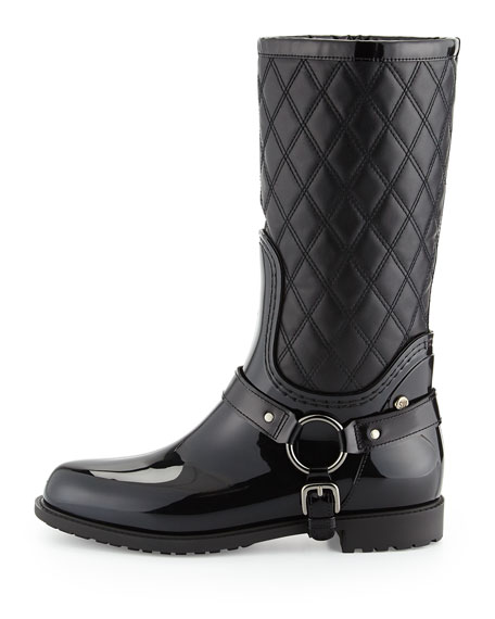 Stirrup Quilted Leather Rainboot, Nero