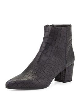 Stuart Weitzman Zepher Croc-Embossed Ankle Boot, Nero