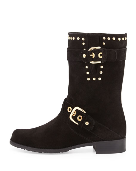 Trotter Studded Moto Boot, Nero
