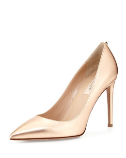 Metallic Leather Point-Toe Pump, Metal Rose