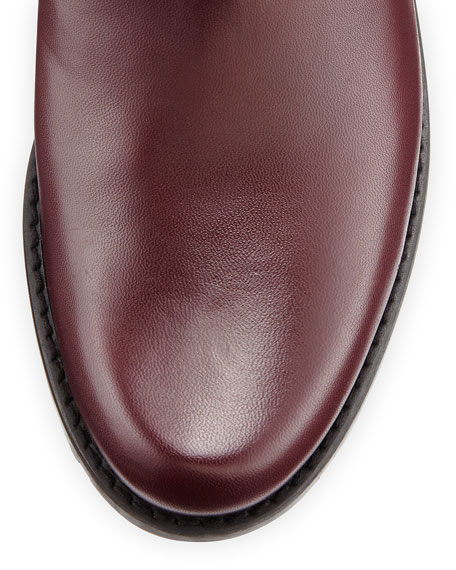 Guard Quilted Leather Knee Boot, Bordeaux