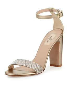 Glam Mesh Naked Sandal, Platino
