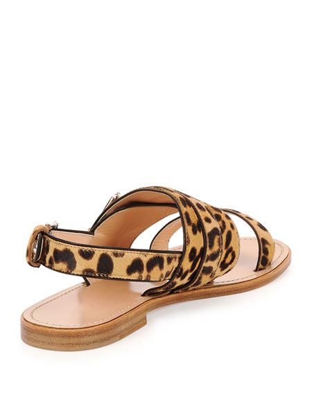 Gianvito Rossi Double Band Leopard Print Flat Sandal