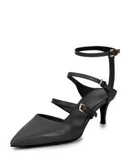 Low-Heel Triple-Strap Ankle-Wrap Pump