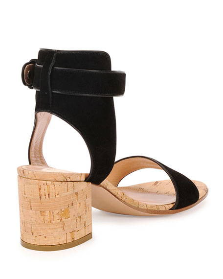 9a071f5f785 Gianvito Rossi Cork-Heel Suede City Sandal