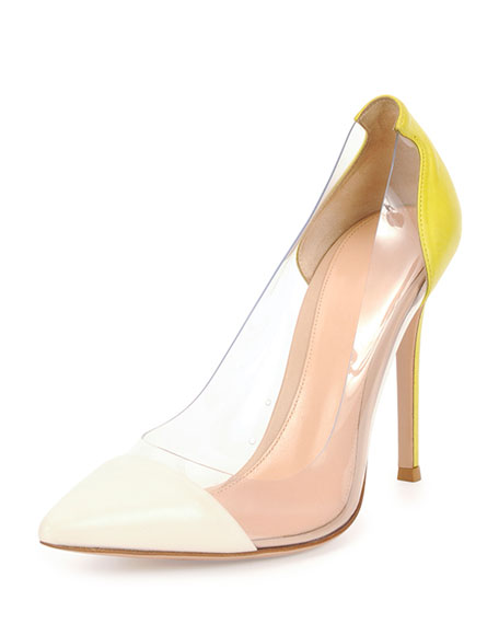 Clear/Leather Colorblock Pump, Off White/Sun