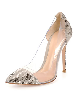 Clear/Snake-Print Pump, Dust
