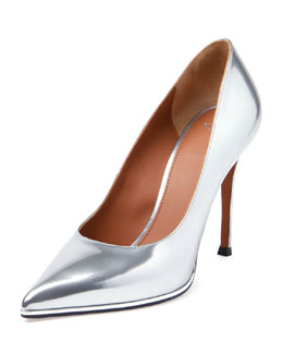 Metallic Leather Point-Toe Pump, Silver