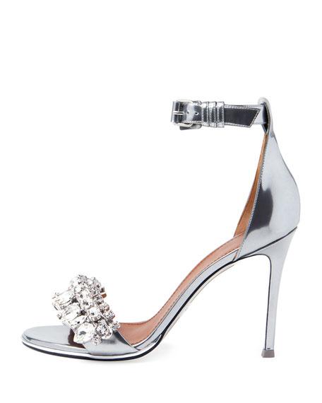 Metallic Crystal Ankle-Strap Sandal, Silver