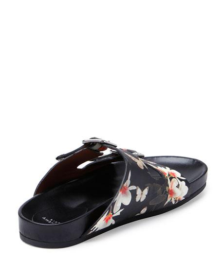 Swiss Floral-Print Double-Buckle Sandal