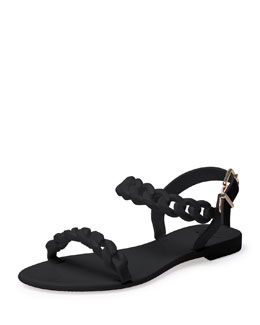 Jelly Chain-Link Flat Sandal, Black