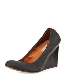 Leather Ballerina Wedge Pump, Black