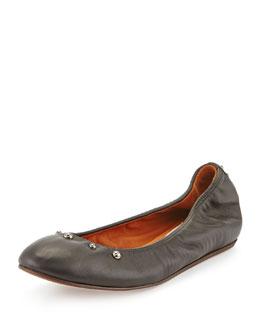 Studded Leather Ballerina Flat, Black