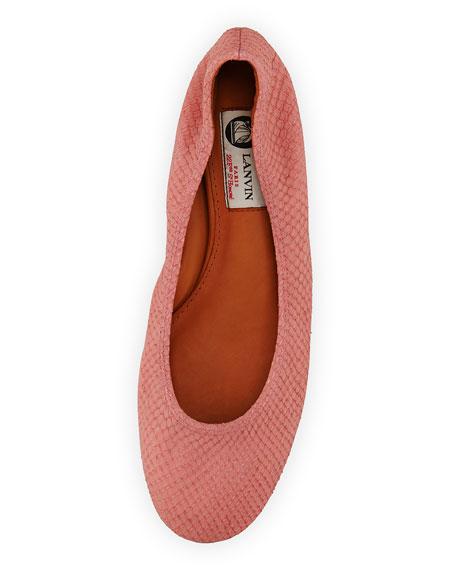 Suede Python-Print Ballerina Flat, Pink