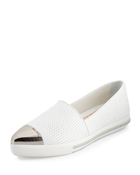 Embossed Leather Cap-Toe Loafer