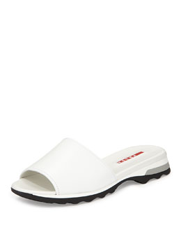 Napa Open-Toe Slide, Bianco