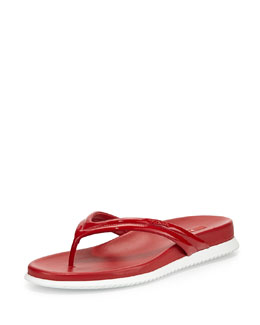 Patent Leather Thong Sandal, Rosso