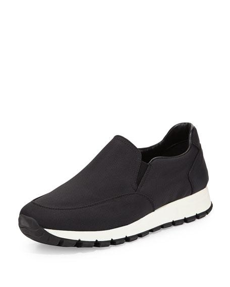 Prada Nylon Slip-On Sneaker, Nero