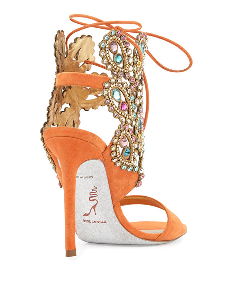 Multi-Crystal Crown Ankle Wrap Sandal, Orange