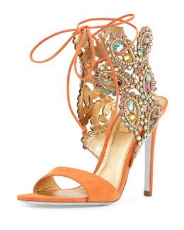 Multi-Crystal Crown Ankle Wrap Sandal, Orange