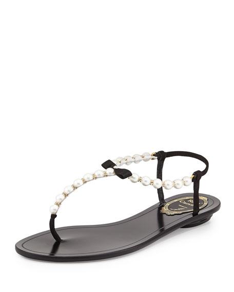 Pearly & Crystal Thong Sandal, Black