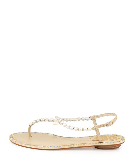 Pearly & Crystal Flat Thong Sandal, Champagne