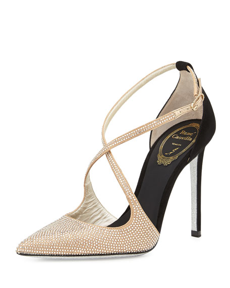 Crystallized Satin/Suede Cross-Strap d'Orsay Pump