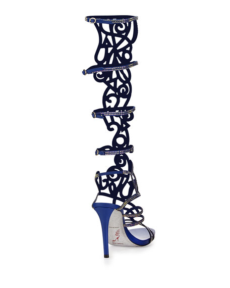 Knee-High Crystal Gladiator Sandal, Blue/Gold