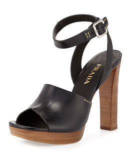 Leather Ankle-Wrap Sandal, Black