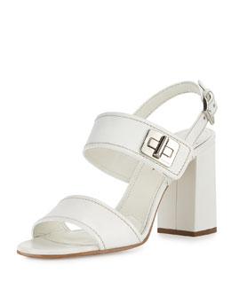 Leather Turn-Lock Slingback Sandal, Bianco