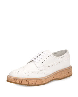 Suede Oxford w/Cork Sole, White (Bianco)